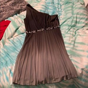 One shoulder ombré dress with rhinestones